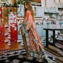 Oversize Beach Cover Up Kimono Vintage Print Floral Holiday Bikini Outin... - $28.57