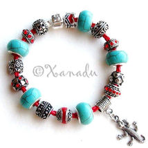 Turquoise Gemstone Southwest Theme European Style Charm Bracelet On Red ... - $66.00