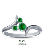 14k White GP 925 Silver Mickey Mouse Ring Round Cut Green Emerald May Bi... - $25.99