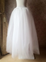 4-Layered White Tulle Skirt White Maxi Tulle Skirt Petticoat White Bridal Tutu  image 5
