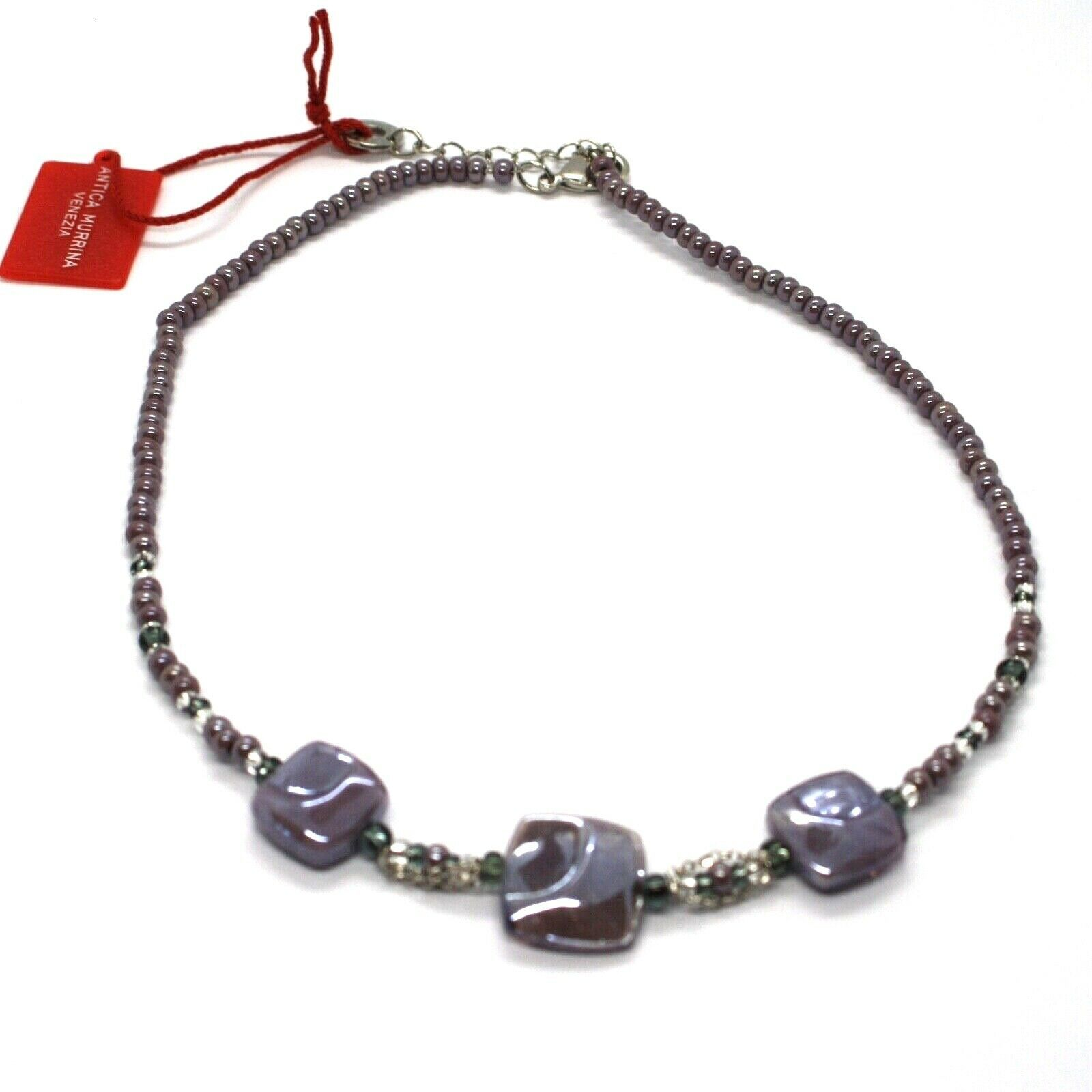 Necklace Antique Murrina Corner CO990A04 with Murano Glass Purple Choker