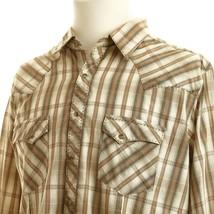 Wrangler Plaid Cat Eye Pearl Snap Western Shirt Mens Large Brown Green W... - $17.67