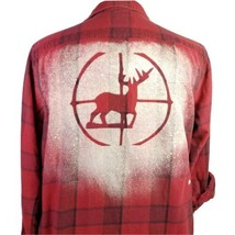 Deer Hunter Scope Flannel Shirt Large Upcycled Art To Wear Bleached OOAK Buck - $38.95