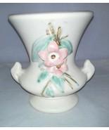 McCoy Blossom Time Urn Vase 1946 White With Pink Flowers Vintage 2 Handles - $24.99