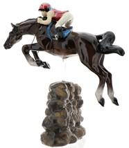 Hagen-Renaker Specialties Ceramic Horse Figurine Girl Show Jumping a Rock Wall image 6