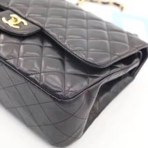 NEW AUTHENTIC CHANEL BLACK QUILTED LAMBSKIN JUMBO CLASSIC DOUBLE FLAP BAG GHW image 6