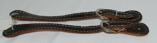 Unbranded Dark Brown adult Overlay Spur Straps Silver Colored Buckle 1 pair