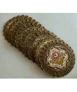 """8 Vintage Brocade Round Coaster Set 5"""" Floral Patte Felt Back - $19.99"""
