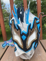 Mexican Wrestling Mask Blue White Gold Tail Cape Halloween Dress Up Cosplay - $22.49