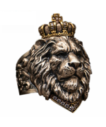 Animal King Lion Crown Ring For Men Stainless Steel Jewelry 7-14 Big Size - $12.52