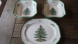 Spode Christmas Tree Platter Tray and 2 Square Serving Bowls - $98.99