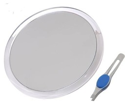 """DBTech Large 10"""" Suction Cup 5X Magnifying Mirror with Precision Tweezers"""