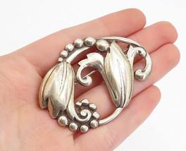 925 Sterling Silver - Vintage Antique Blooming Flowers Motif Brooch Pin ... - $90.59