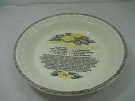Vintage Ceramic Porcelain Lemon Meringue Pie Plate Dish Made in USA - $14.80