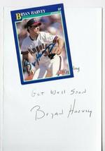 BRYAN HARVEY AUTOGRAPHED SCORE CARD & HAND WRITTEN GET WELL CALIFORNIA A... - $4.98