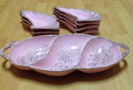 California Pottery Scallop Shape Serving Dish with plates Set Pink/Gold vintage  - $54.40