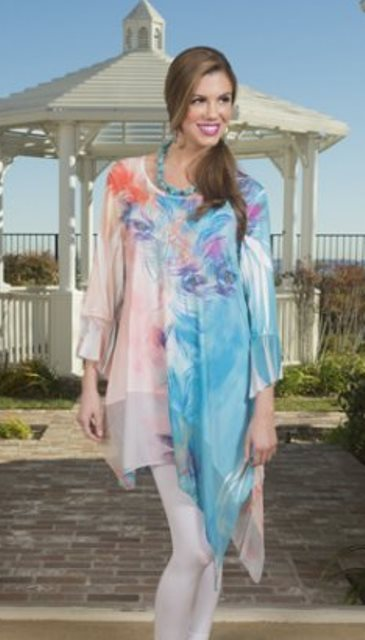 Cover Charge Aqua/Coral Peacock Paradise Asymmetrical Beaded Tunic - 20% OFF!