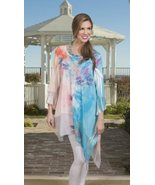 Cover Charge Aqua/Coral Peacock Paradise Asymmetrical Beaded Tunic - 20%... - $27.90