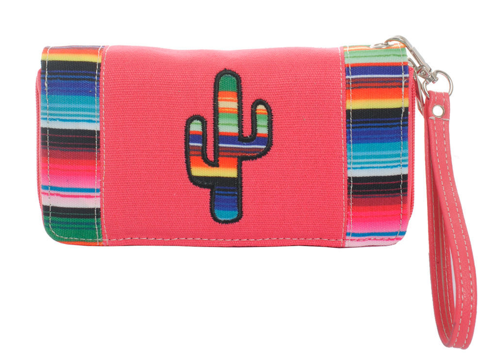 Serape Striped Cactus Wallet Wristlet Clutch Purse Coral