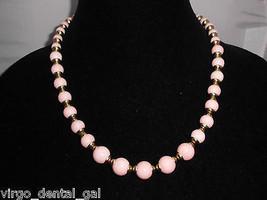 VTG AVON Signed Gold Tone Plastic Lucite? Pink Marble Beaded Necklace/Bracelet - $29.70