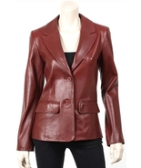 BURGANDY WOMEN'S LEATHER BLAZER - $170.00+