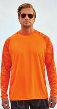 Sun Protection Long Sleeve Dri Fit Safety Neon Orange shirt Camo Sleeve SPF 50+ image 6