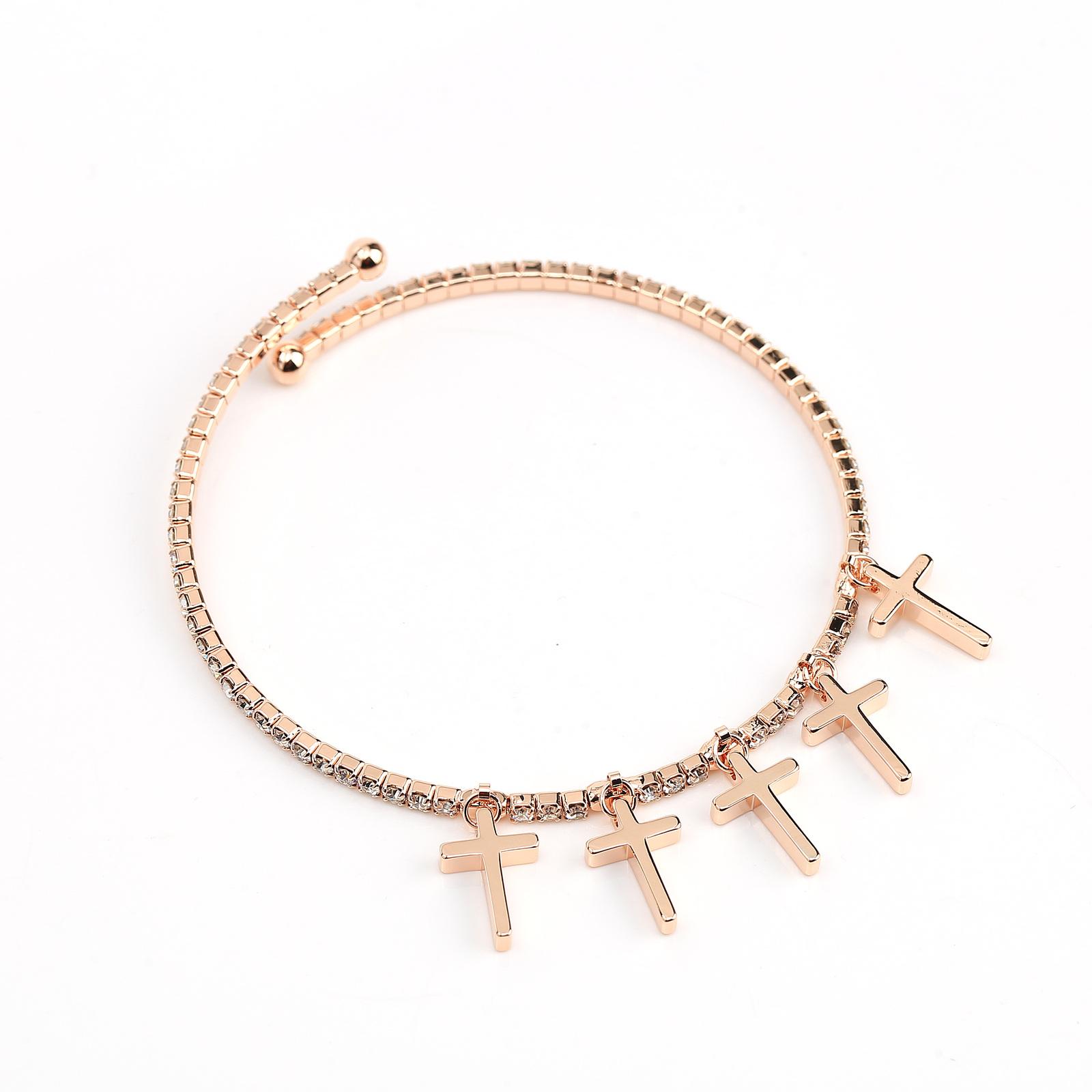 UE- Designer Rose Tone Bangle Bracelet With Swarovski Style Crystals & Crosses