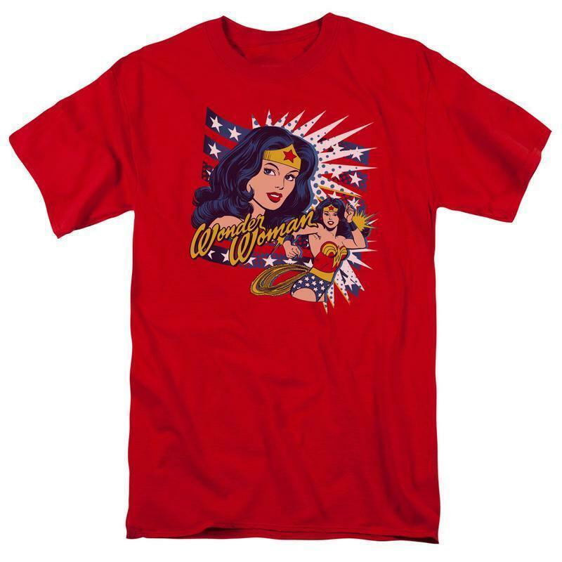 Wonder woman t shirt stripes star retro dc comicbook batman superhero tee dco606