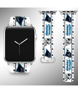 Carolina Panthers Apple Watch Band 38 40 42 44 mm Fabric Leather Strap 1 - $29.97