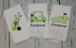 Personalized Golf Baby Boy Burp Cloth set 3 Monogrammed Golf Cart Green & Clubs - $27.00