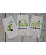 Personalized Golf Baby Boy Burp Cloth set 3 Monogrammed Golf Cart Green ... - $27.00