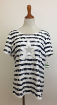 Karen Scott Striped Embellished Star Short Sleeve Knit Top sz Large New NWT - $14.84