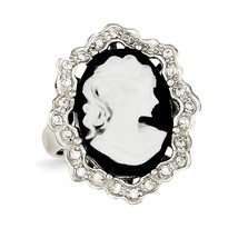 Sterling Silver CZ Cameo Ring QR2176 Size 6 - 8 - $53.05+