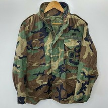US Army Mens Uniform Jacket Green Camouflage Zip High Neck Lined Flap Pocket M - $30.28