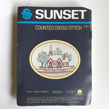 Sunset Faith Hope Charity Counted Cross Stitch Kit 1701 Church Religious - $14.46