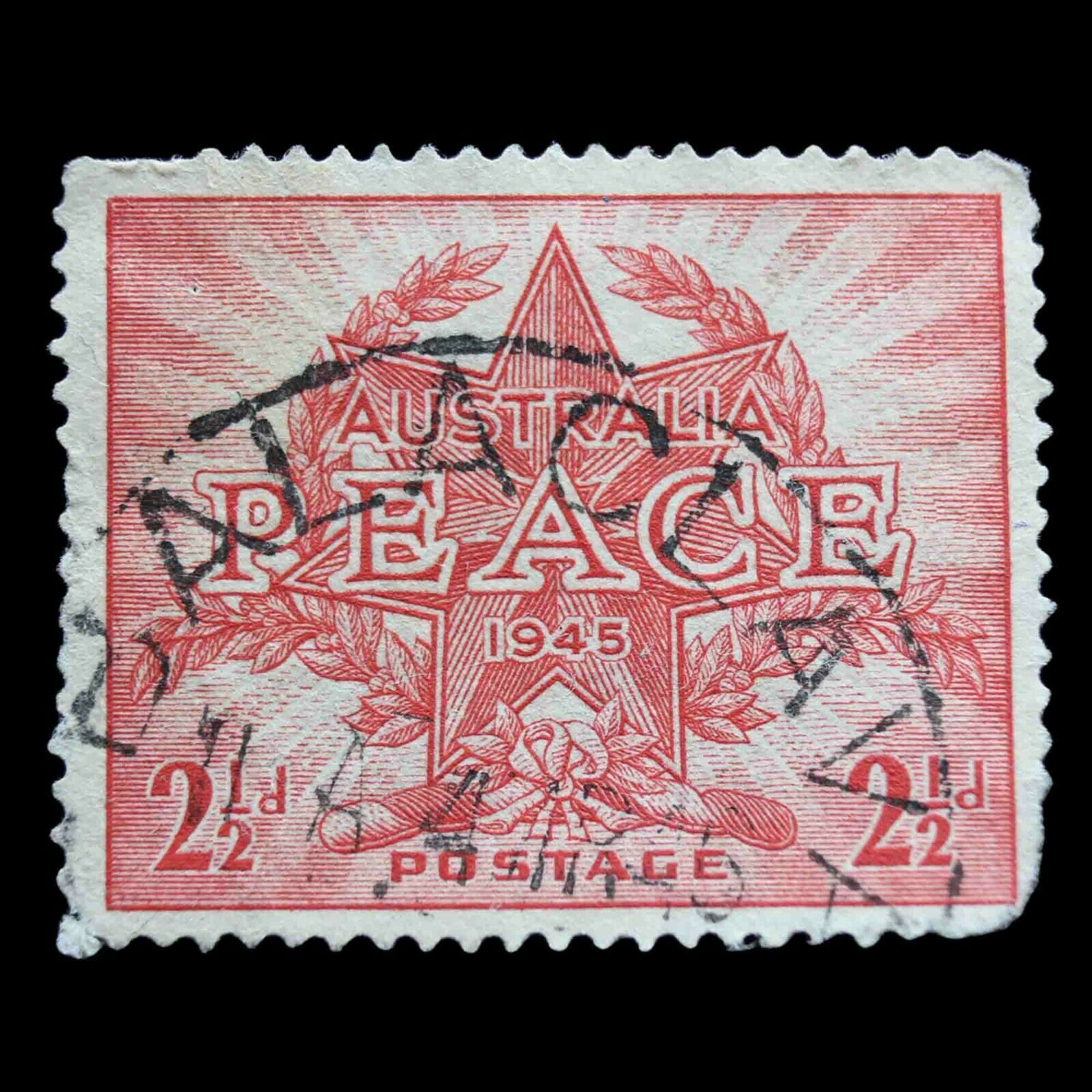 Primary image for Australia 1946 2 and half d - Australian Penny Used Postage Stamp Star and Wreat