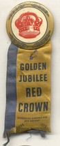 """Golden Jubilee Red Crown Standard oil 50th with ribbon vintage 2 1/4 """" pin - $59.99"""