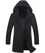 ELETOP WOOL MENS COAT 80% WOOL, ZIPPER FRONT WITH HOOD SIZE LARGE - $47.52