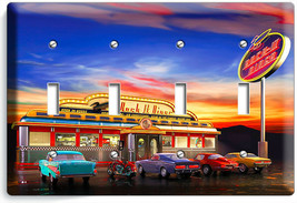 RETRO 50'S DINER CARS NEON LIGHTS LIGHT SWITCH 4 GANG WALL PLATE ROOM HO... - $18.99