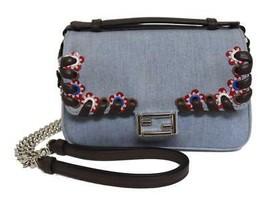 New Fendi Double Micro Baguette Denim Leather Messenger  Bag - $880.04