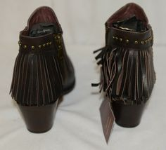 Lucky And Blessed SH 11 Dark Brown Leather Boots Fringe Metal Studs Size 9 image 4