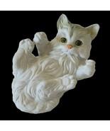 Porcelain White Cat Kitten Figurine Lying On Back Vintage ?? Matte Finish - $11.04