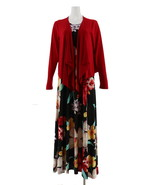 Attitudes Renee Petite Printed Maxi Dress Cardigan Rouge Tropical PS NEW... - $37.60