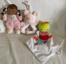 Carters My First Doll AA Rattle Plush Taggies Lovey Blanket & Owl Perk A... - $25.99