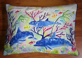 New Handpainted Batik Tropical Dolphin Ocean 30x21 Inch Cotton Pillow Co... - $28.05