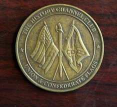 The History Channel Club Union & Confederate Flags Brass Token  - $7.91