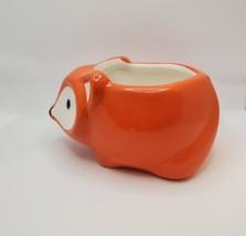 "Ceramic Animal Planter, 5"" Orange Flora the Fox Pot for succulents plants image 5"