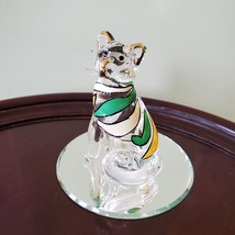Glass Cat Figurine on mirrored base, painted with yellow green stripes, Kitty image 1