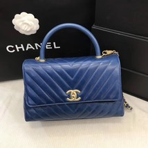 100% AUTHENTIC CHANEL CHEVRON QUILTED ROYAL BLUE MEDIUM COCO HANDLE BAG GHW image 3