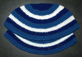 Lot of 2 Frik Kippah Yarmulke Yamaka Blue Stripes Judaism Israel 24 cm Cotton